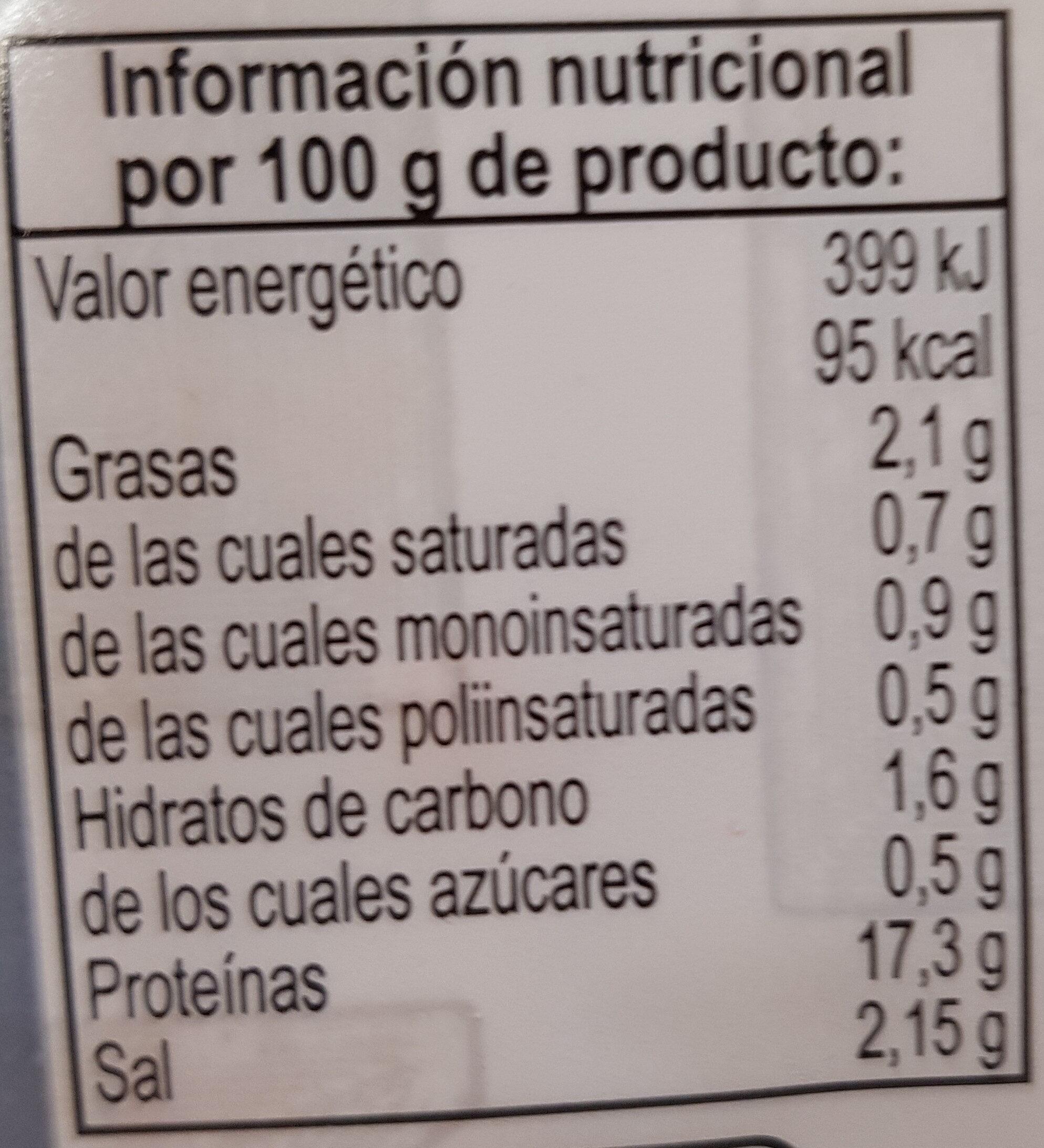 Pincho amarillo con perejil - Informació nutricional - es