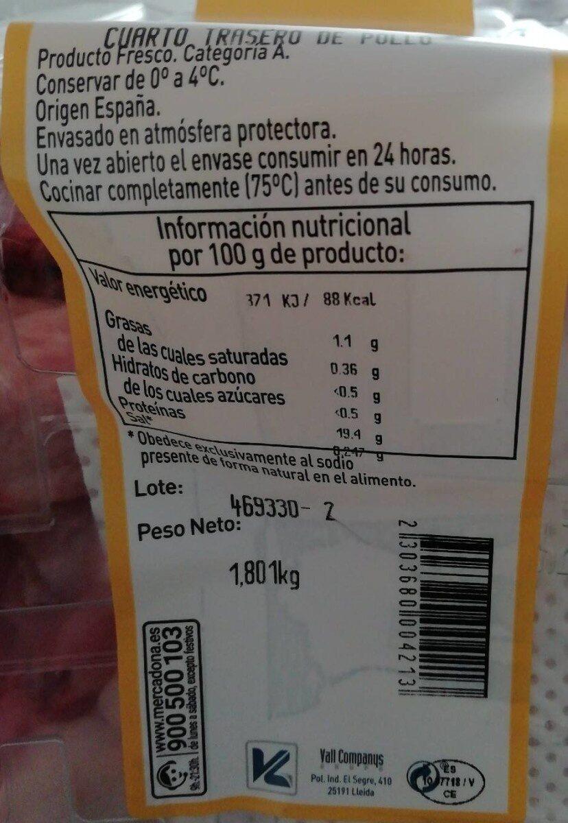 Cuarto trasero familiar - Nutrition facts - es