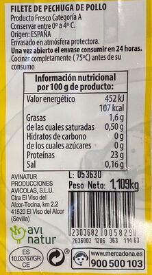 Pechuga entera - Nutrition facts