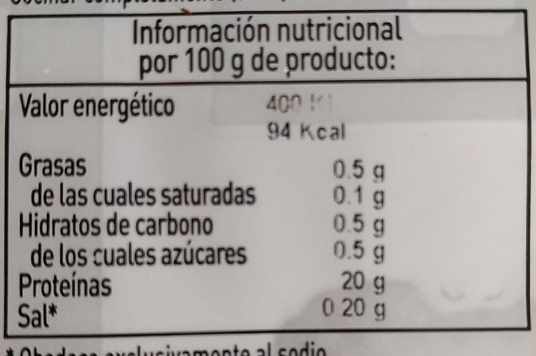 Informacion nutricional pechuga de pollo