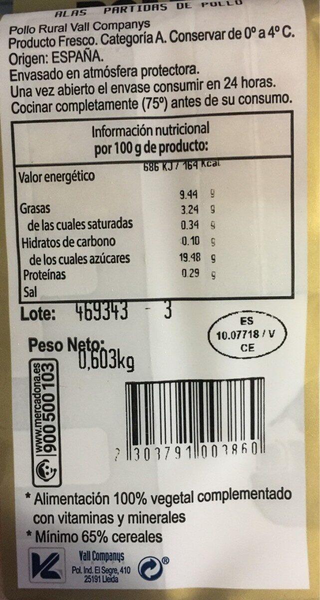 Alas pollo rural - Nutrition facts