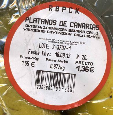 "Plátanos ""Reybanpack"" - Ingrediënten"