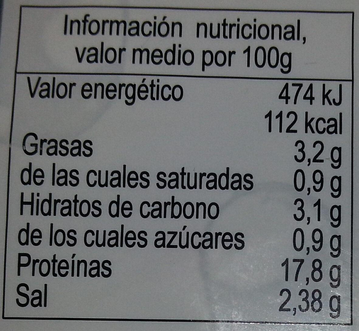 Solomillo provenzal - Información nutricional