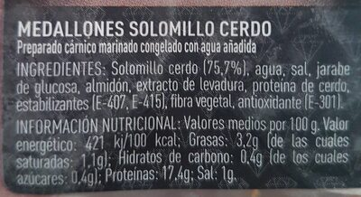 Medallones de Solomillo Marinado - Ingredientes - es