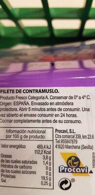 Filete contramuslo pavo - Ingredientes - es