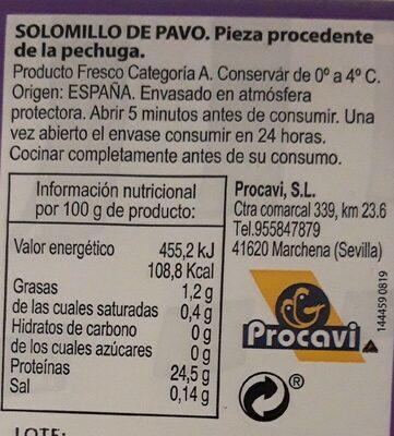 Solomillo de pavo - Nutrition facts