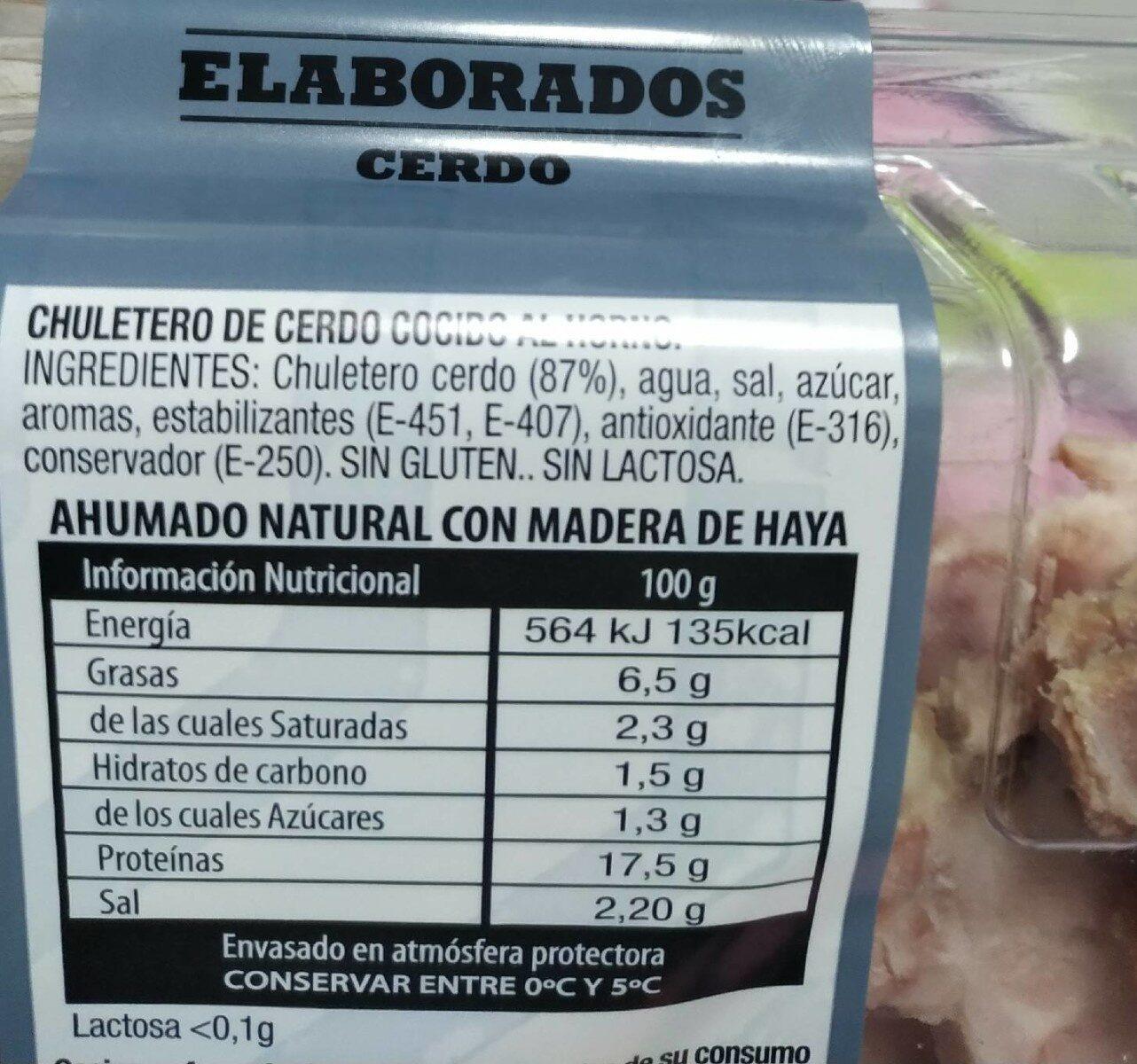 Chuletas de sajonia - Información nutricional
