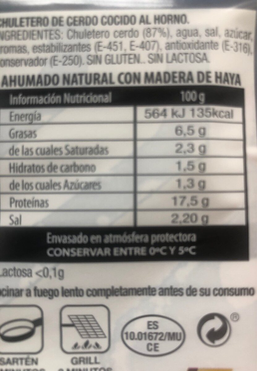 Chuletas de sajonia - Nutrition facts - es