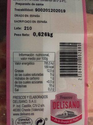 Chuletas de aguja - Informació nutricional - es
