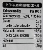 Lomo vacuno congelado - Nutrition facts