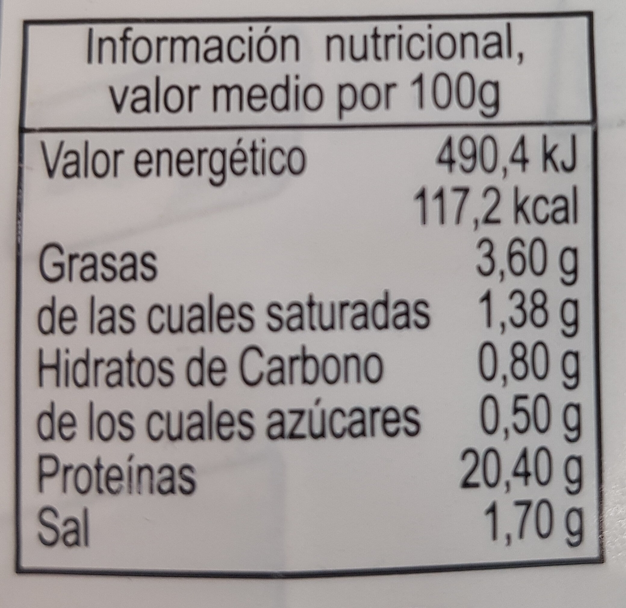 Lomo adobado familiar - Información nutricional - es