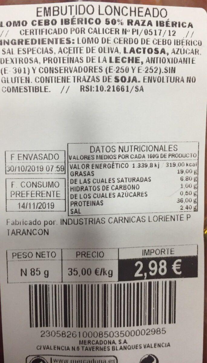 Lomo de cebo ibérico - Nutrition facts