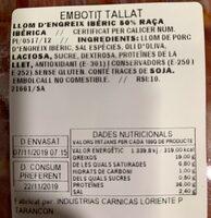 Lomo cebo iberico - Voedigswaarden