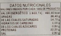Chorizo de cebo ibérico - Nutrition facts
