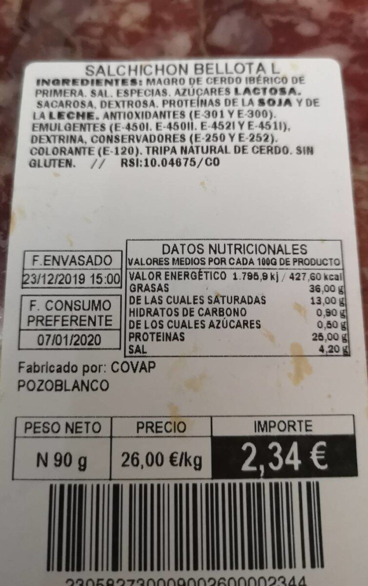 Salchichón iberico de bellota - Nutrition facts