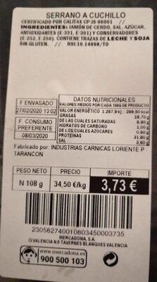Serrano a cuchillo - Informations nutritionnelles - en