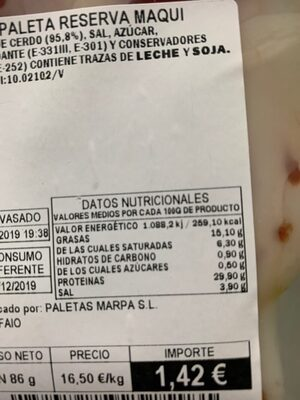 Paleta reserva - Nutrition facts