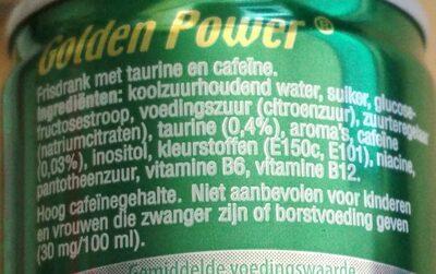 Golden Power Energie Drink - Ingrediënten