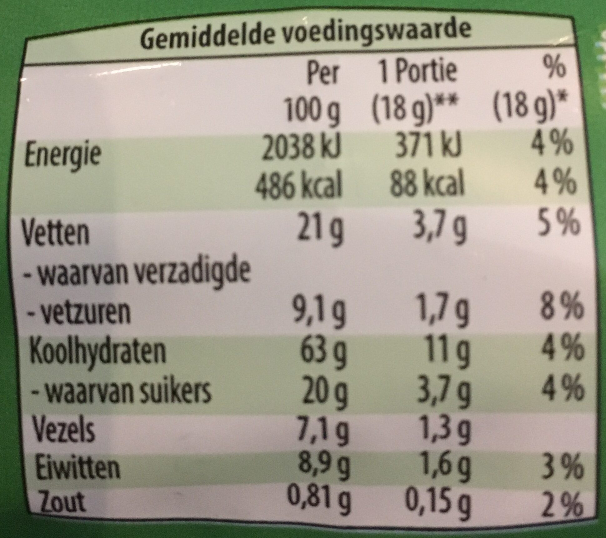 Veelkoren biscuits - Voedingswaarden - nl