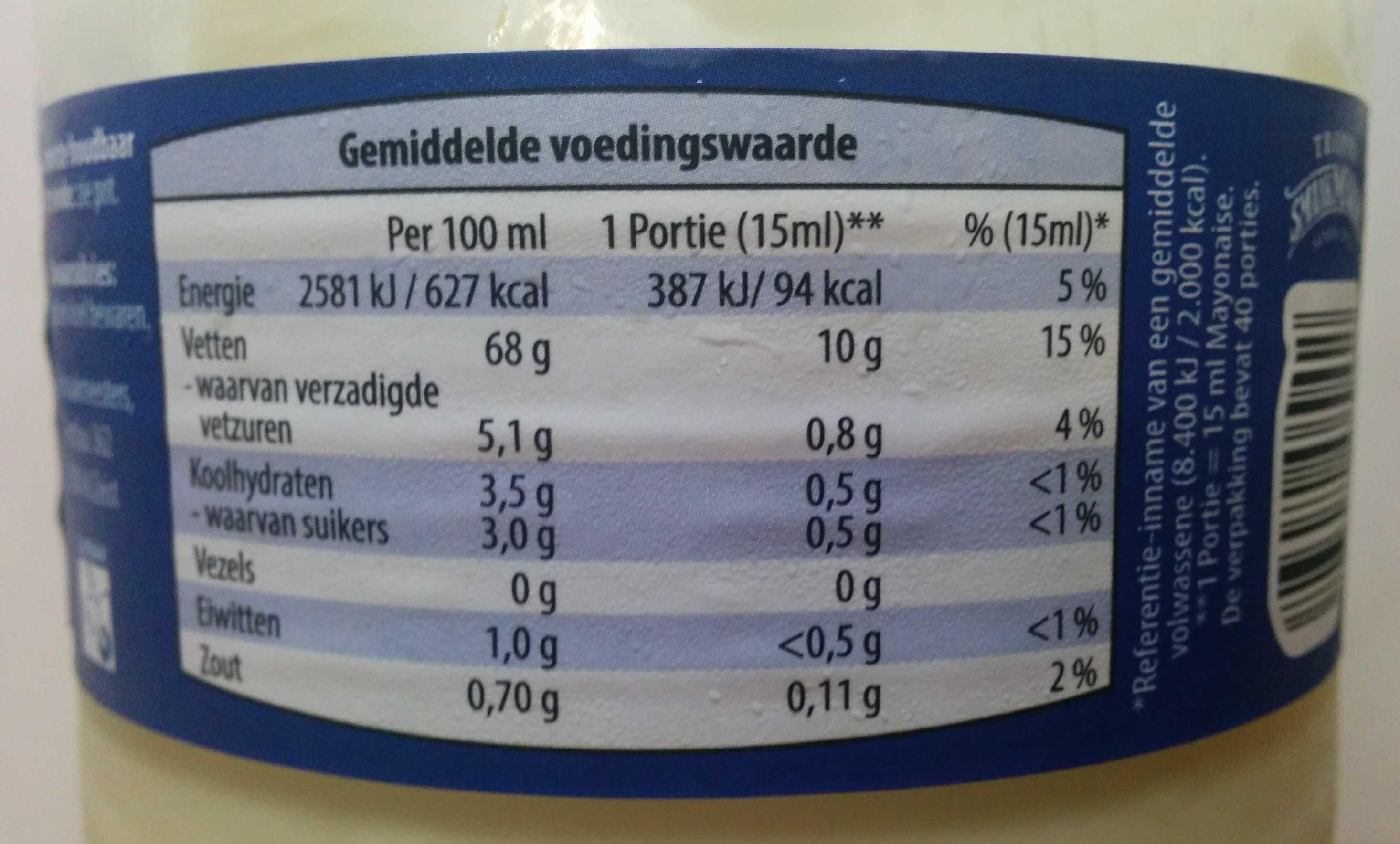 Mayonaisd - Voedingswaarden - en