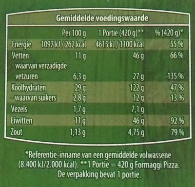 Verse Pizza 4 Formaggi - Nutrition facts