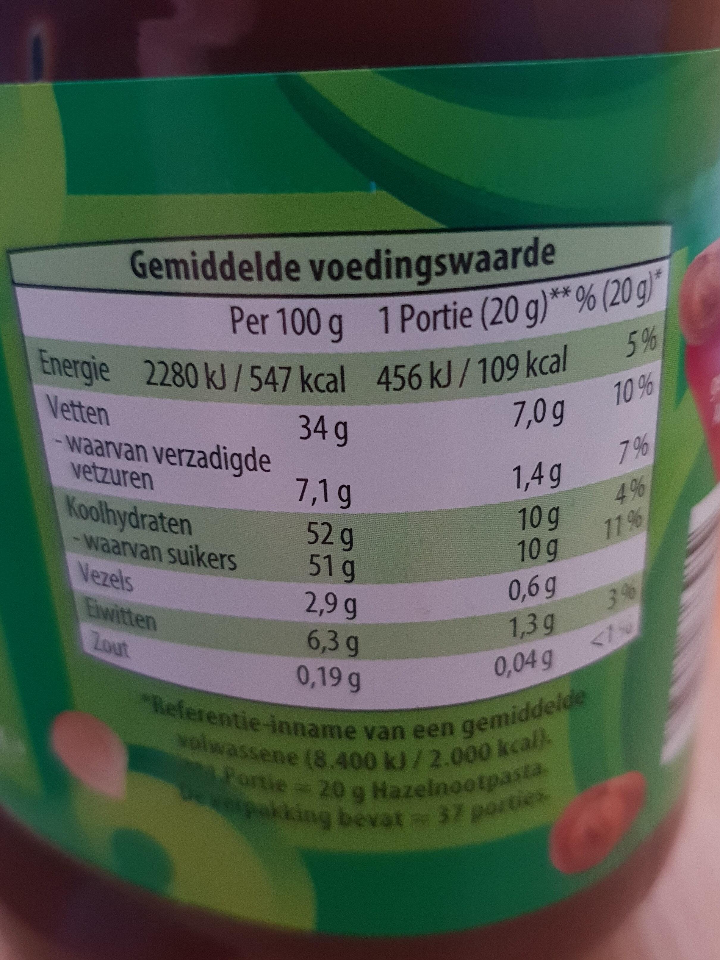 Hazelnootpasta - Voedingswaarden - nl