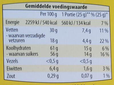 Witte chocoladeletter speculoos - Voedingswaarden - nl