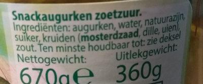 Snack Augurken Zoetzuur - Ingrediënten - nl