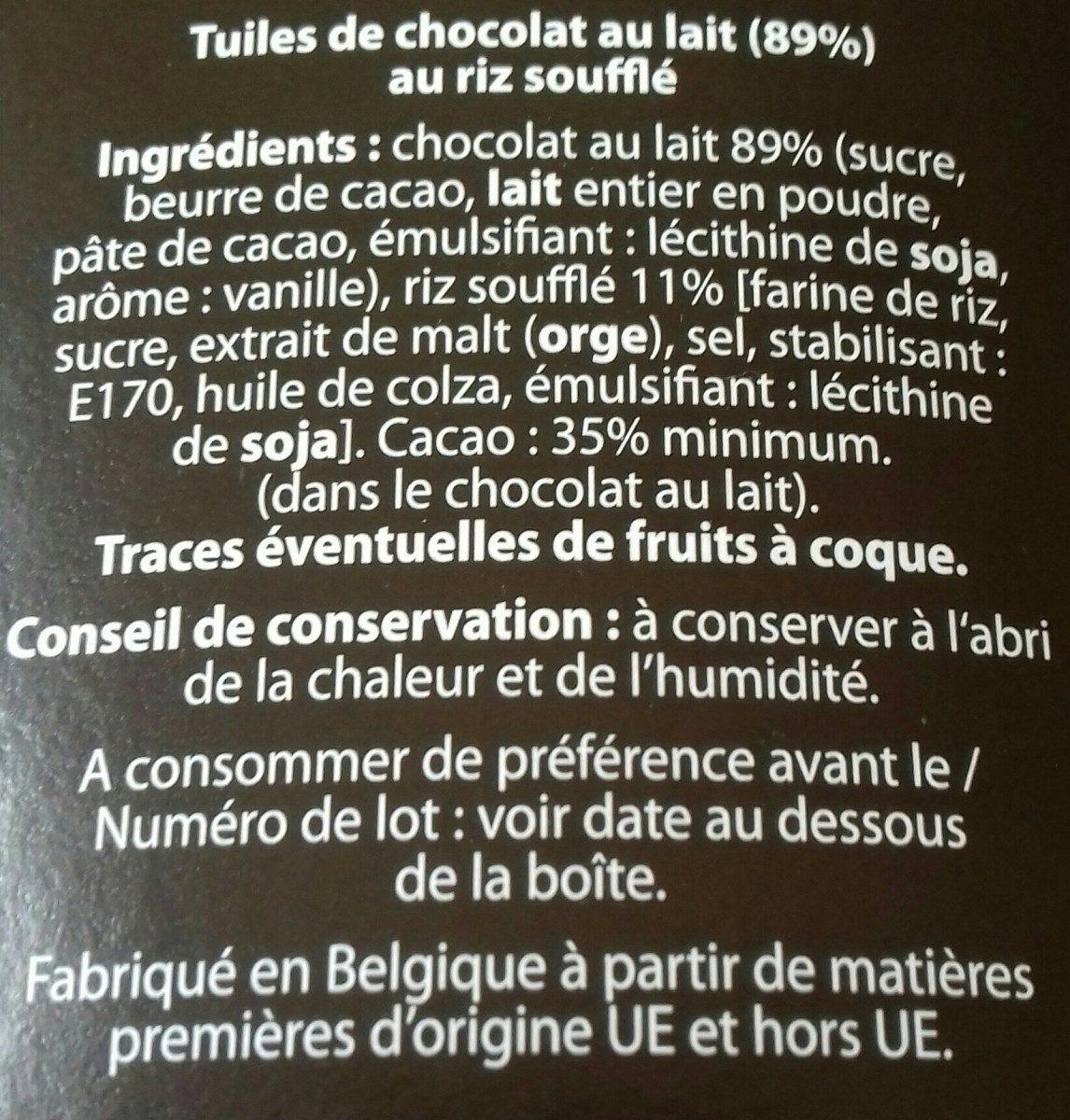 Tuiles de chocolat noir - Ingrediënten