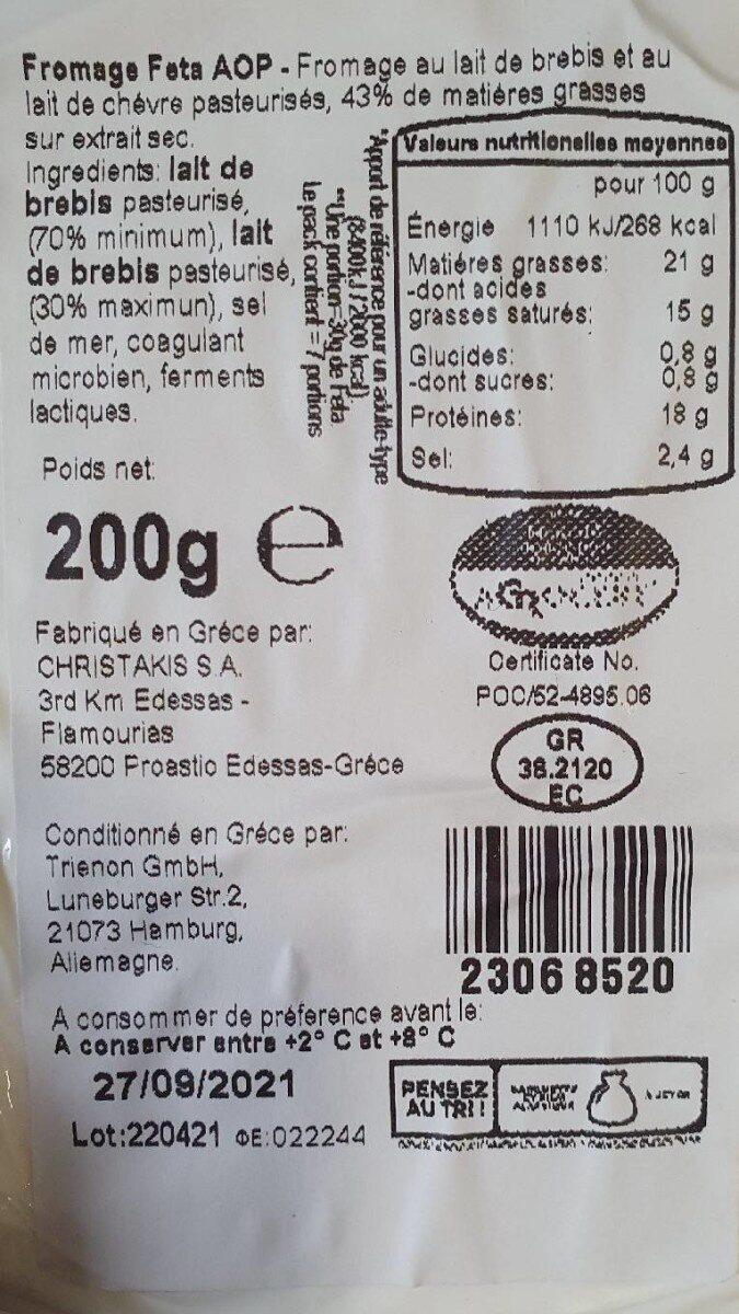 Feta - Voedingswaarden - nl