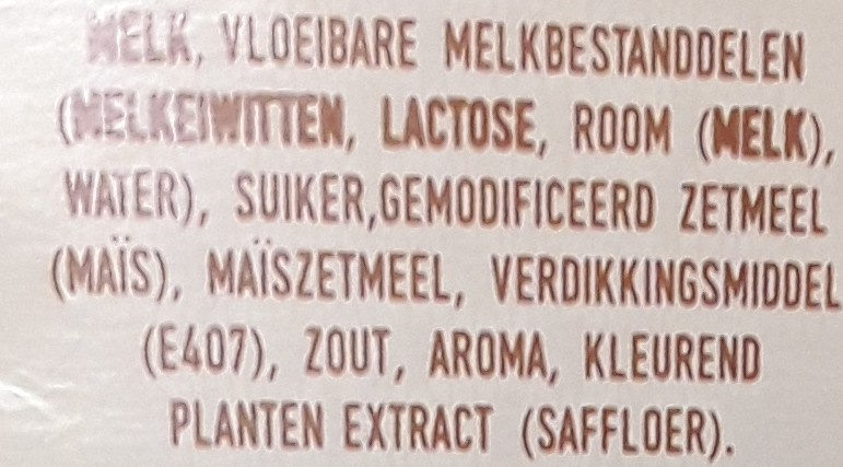 Blanke Vla - Ingredients - nl