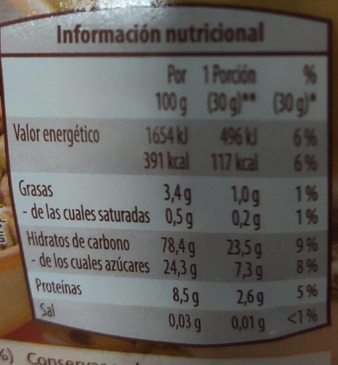 Espelta inflada con miel - Voedingswaarden - es