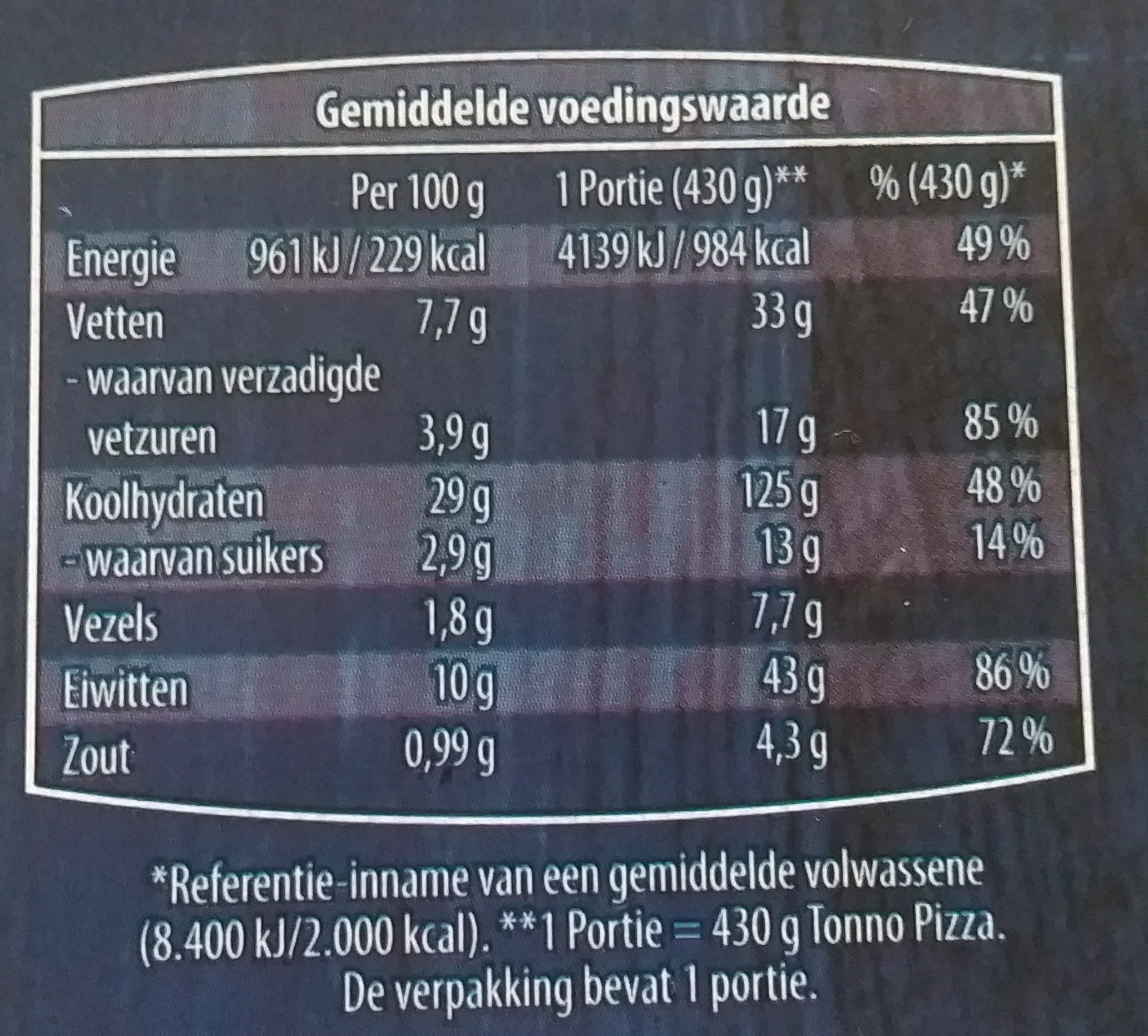 Verse Pizza Tonno - Nutrition facts - nl