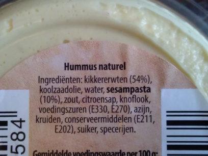 Hummus naturel - Ingrediënten - en