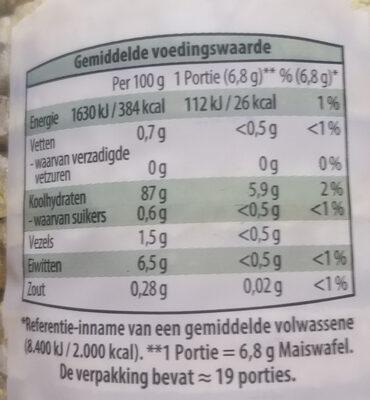 Maiswafels - Voedingswaarden - nl