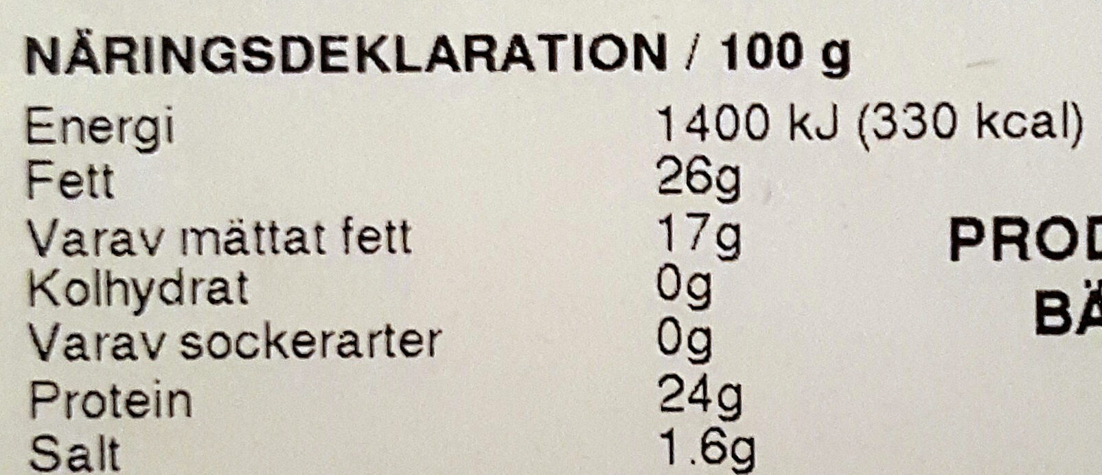 Hushållsost Mild - Nutrition facts