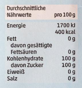Feiner Raffinade Zucker - Nährwertangaben