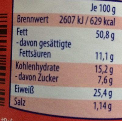 Erdnusscreme Cremig - Nährwertangaben