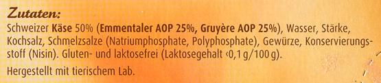 Schweizer Käse-Fondue ohne Alkohol - Ingredients - de