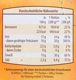 Schweizer Käse-Fondue ohne Alkohol - Nährwertangaben