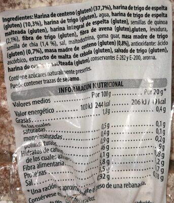 Hogaza de centeno & trigo espelta - Nutrition facts