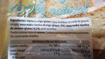 Hogaza 100% natural - Ingredientes - es