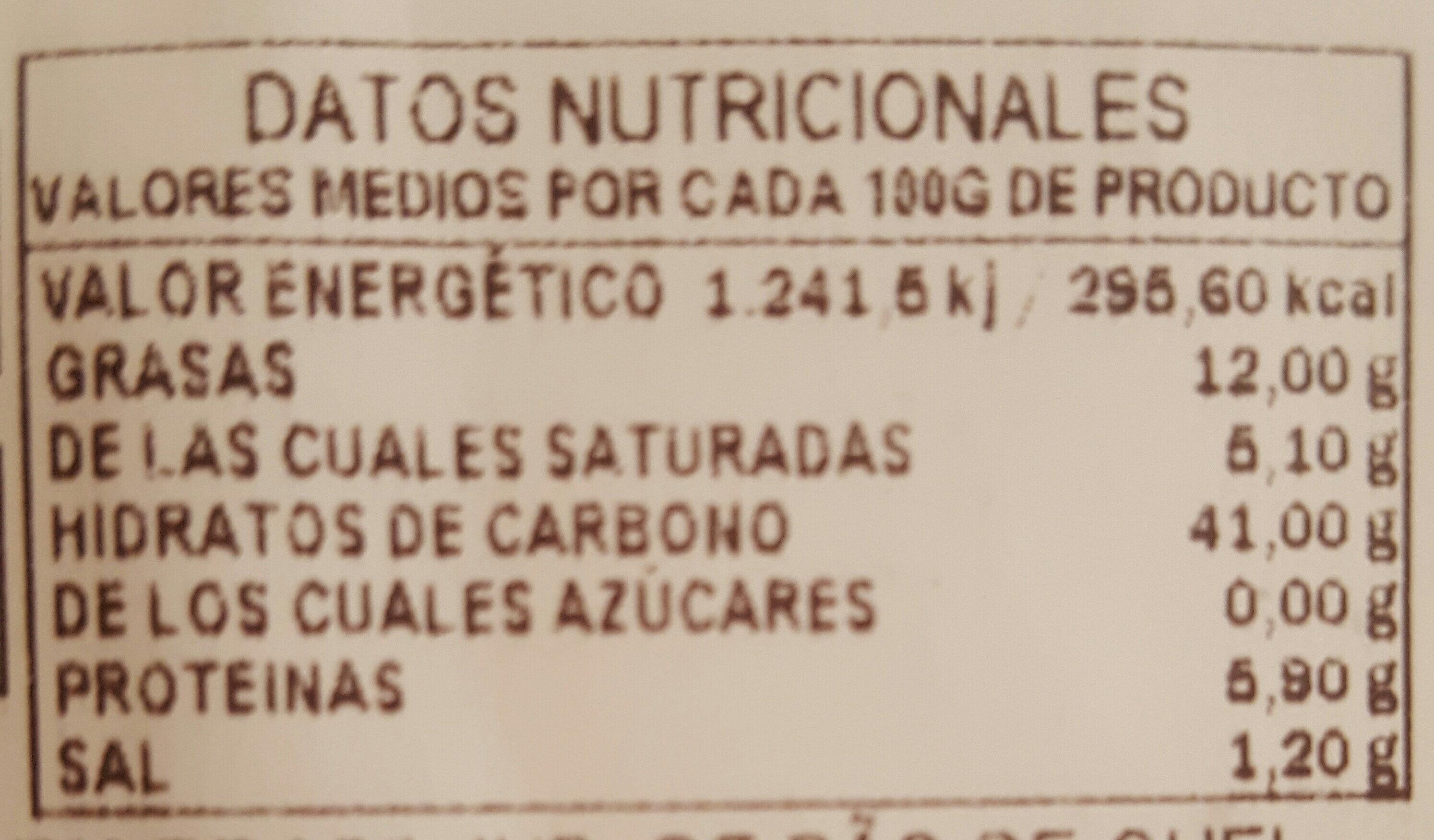 Panecillo Queso - Informació nutricional