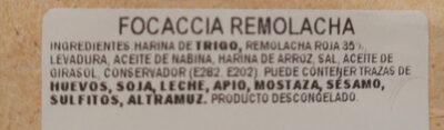 Focaccia de remolacha - Ingredientes - es