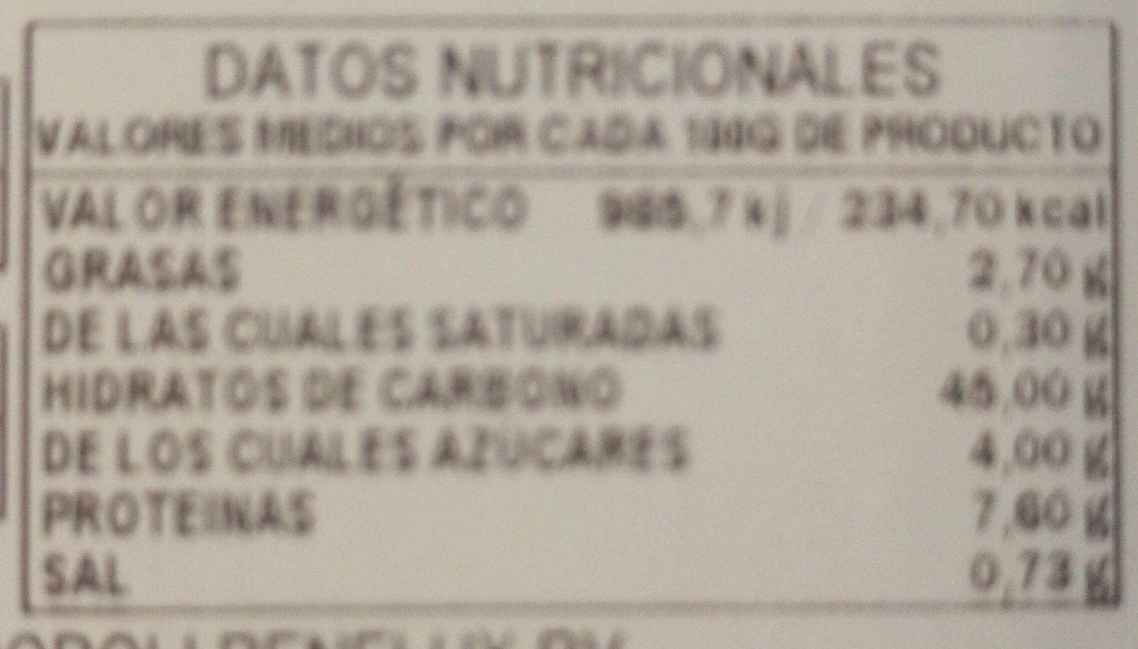 Focaccia de remolacha - Información nutricional - es