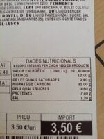 Empanada de pollo y setas - Nutrition facts - ca