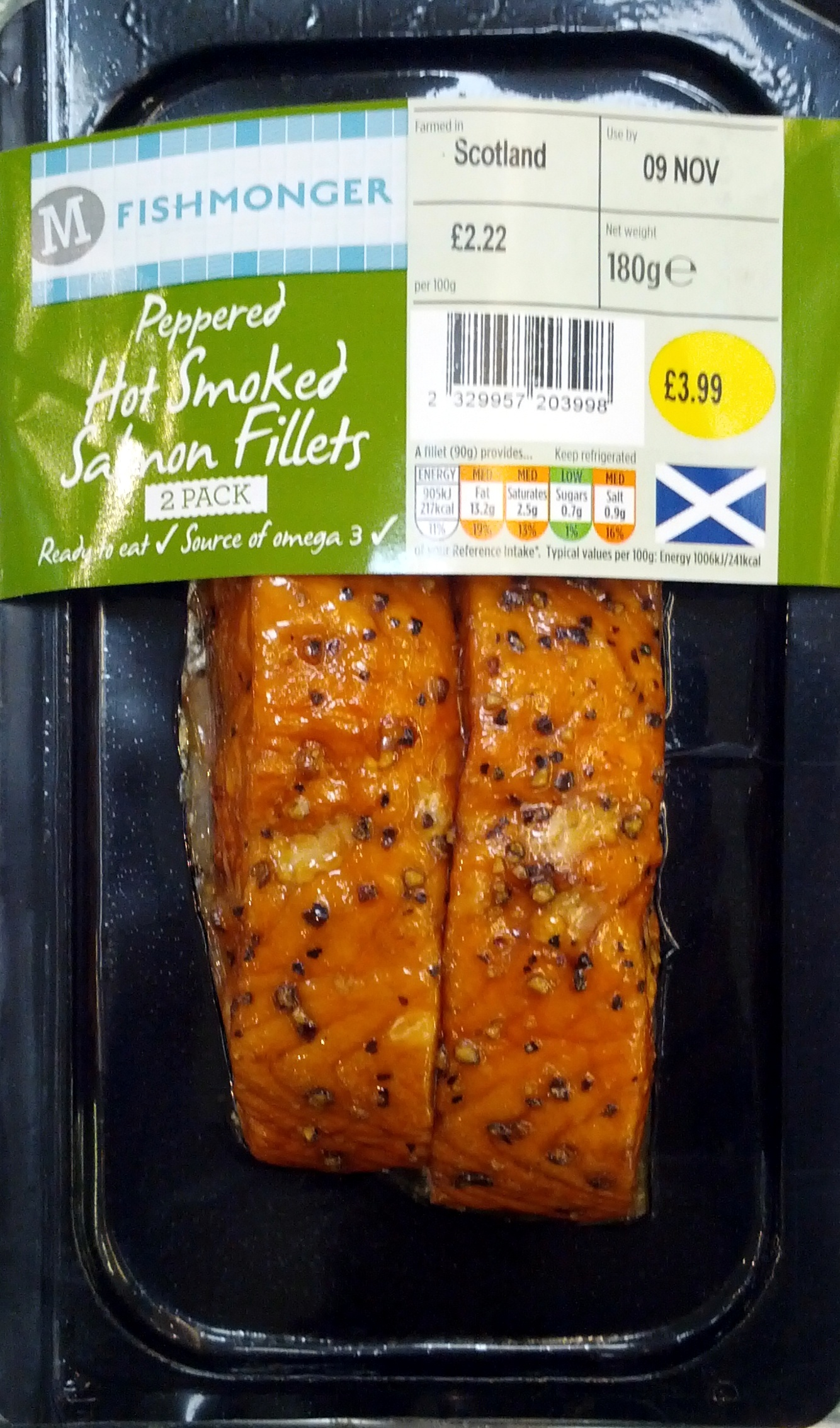 Peppered Hot Smoked Salmon Fillets Morrisons 180g