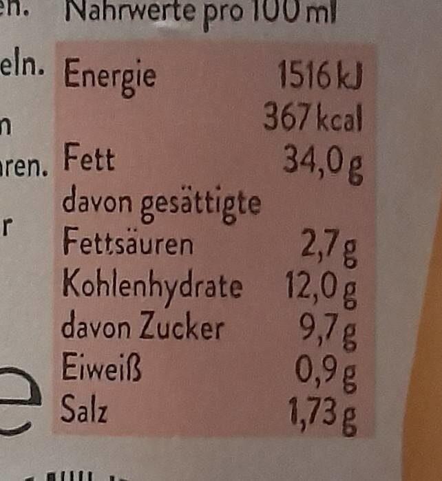 Cocktail Sauce - Nährwertangaben - de