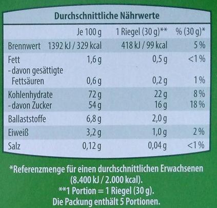Obst-Riegel mit Erdbeer-Banane - Voedingswaarden - de