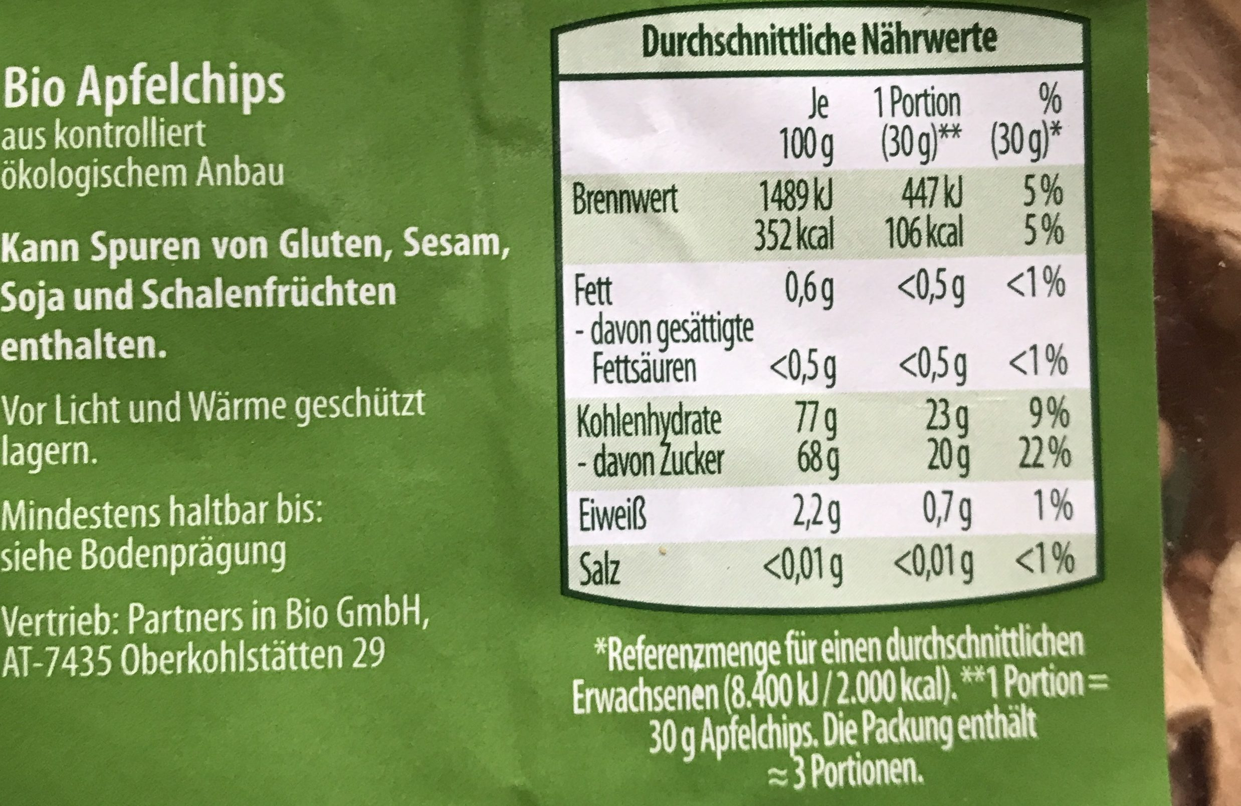 Bio Apfelchips - Ingredients